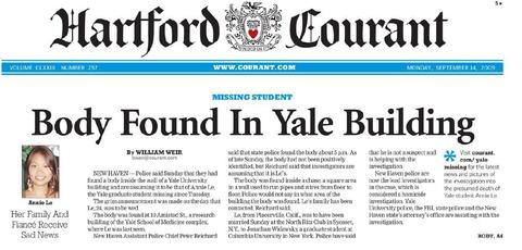 The body of Yale student Annie Le, who went missing Sept. 8, 2009, was found in a research building at the New Haven campus on Sept. 13, 2009, the day she was supposed to be married. Yale lab technician Raymond Clark was charged with her murder and pled guilty.