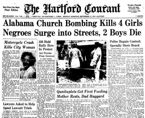 On Sunday, Sept. 15, 1963, a bomb exploded at the 16th Street Baptist Church in Birmingham, Ala., killing four girls: Denise McNair, 11, and Cynthia Wesley, Addie Mae Collins and Carole Robertson, all 14. The attack by Ku Klux Klan members at the 16th Street Baptist Church helped generate momentum for passage of the Civil Rights Act of 1964 and the Voting Rights Act of 1965.