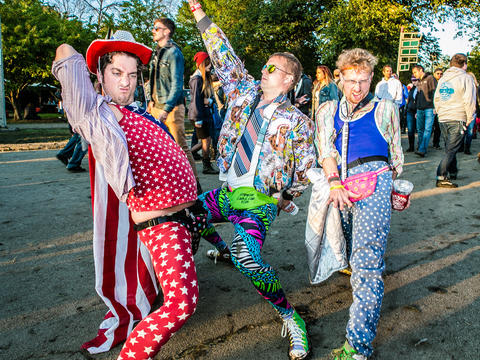 Greg Burmeister, 25 of Grand Forks North Dakota, Gary Oakland, 26, of Lake Forest, Ilinois and Keenan O'Callahan, 31, of New Orleans, Louisiana at Riot Fest. (Hilary Higgins for RedEye)