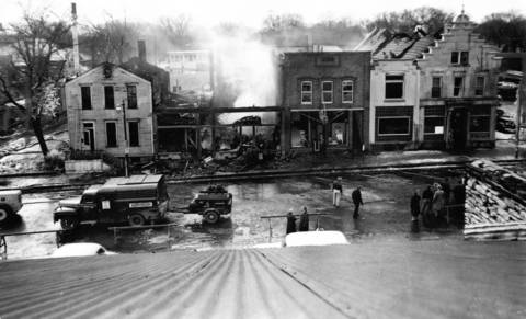 Feb. 2, 1953: Smoldering ruins of the business block on State Street, between 1st and 2nd Avenues in downtown Geneva, after a fire. Among the buildings, left to right, are a frame dwelling, hardware store, barber shop, electric company and the First National Bank of Geneva.