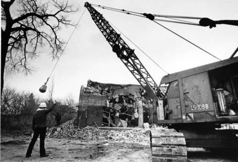 Jan. 7, 1983: The historic 55-year-old Hotel Baker Garage in St. Charles is demolished to make way for a housing project for the elderly. Six terra-cotta panels depicting transportation history were preserved.