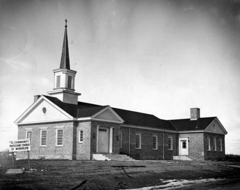 March 18, 1949: The newly completed Community Protestant Church of Mundelein in 1949, seen here the day before its first services were held.
