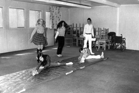 April 3, 1972: One of the portable classrooms at South School. Once filled with busy pupils, this photo shows the empty classroom being used for gym.