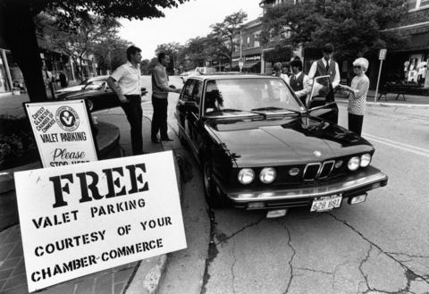 June 23, 1990: In an attempt to promote the downtown area, Glencoe's Chamber of Commerce offers free valet parking to would-be shoppers on Saturdays.