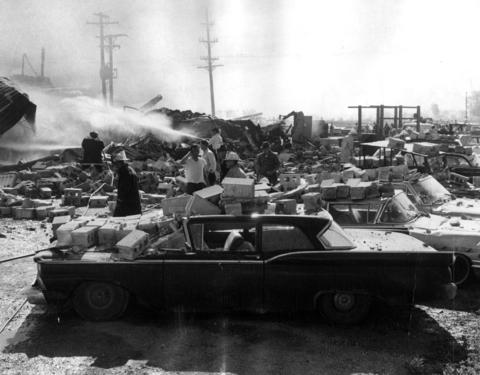 May 25, 1966: Ruins of the S. & S. Sink Top company plant after explosions and fires leveled the building. Four people were hospitalized with injuries and concrete blocks were hurled on to the cars of employees parked nearby.
