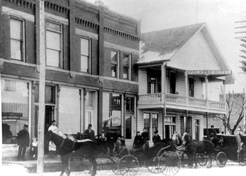 Date unknown: A look at the Folkers Hotel located in Frankfort's downtown area on Kansas Street in the 1890's.
