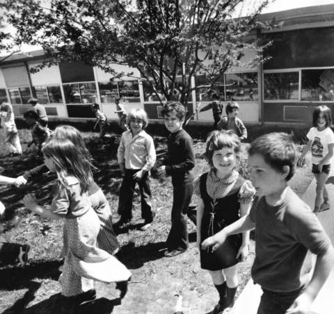 May 4, 1974: Children head outside after classes at North View School in Bolingbrook.