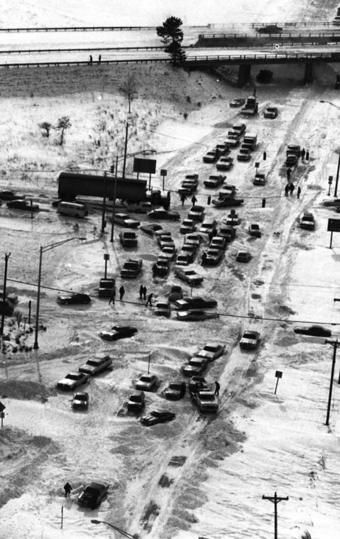 Jan. 28, 1978: Stalled and abandoned cars clog Route 53 in Bolingbrook after a storm dumped more than a foot of snow in the Chicago area.