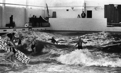 July 15, 1983: Swimmers use the computerized wave machine at the Bolingbrook Aquatic Center. It is the first in the country to be operated by a park district.
