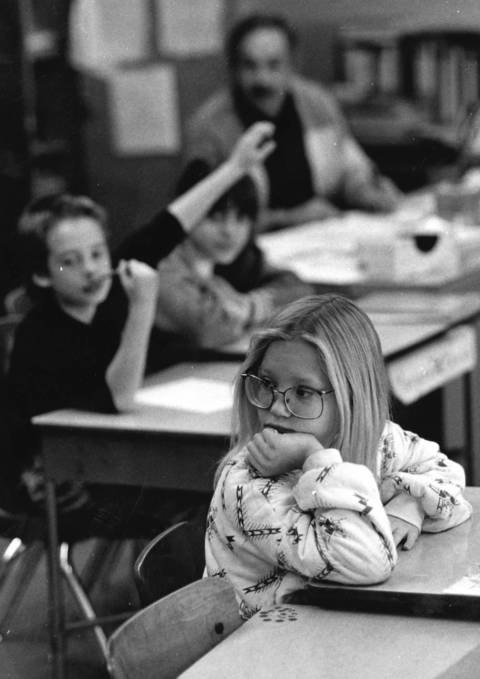 Jan. 16, 1991: Students at North View Elementary School in Bolingbrook go about their classroom activities the day after the school board announced a proposal to close the 27-year-old school.
