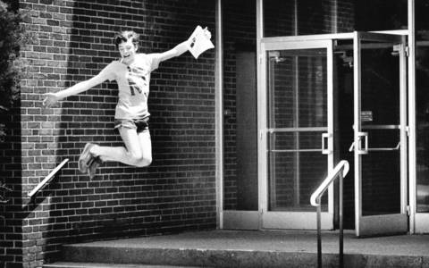 June 7, 1985: A student celebrates the start of summer vacation outside McClure Junior High School in Western Springs.
