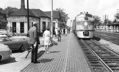 July 11, 1971: Riders wait for the train at the station at Grand and Burlington Avenues in Western Springs.