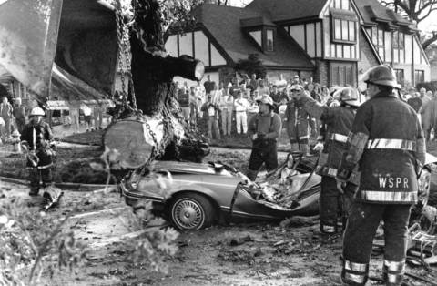 May 6, 1991: Two teenagers were killed when high winds toppled an oak tree onto their car.