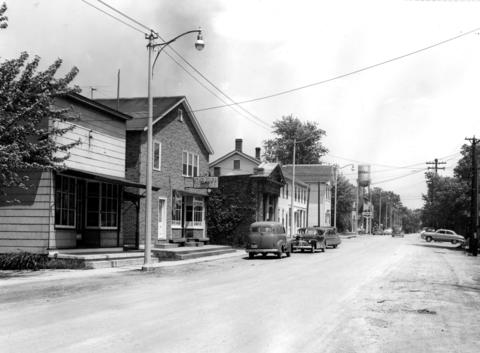 July 1, 1951: Mokena's center, Front Street, which parallels the Rock Island Rail Road, built in 1852.