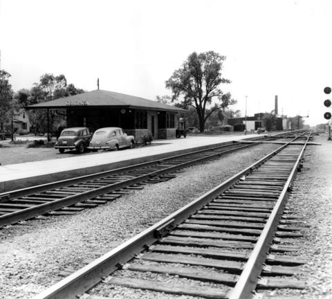 May 26, 1951: The Rock Island railroad station in Mokena, built in 1949. The original caption notes that the town's population at the time was 960.