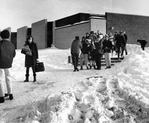 Feb. 1, 1966: Students brave the weather outside Barrington Middle School.