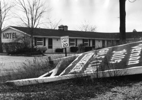 Feb. 16, 1967: A dilapidated sign lays before a motel on the grounds of the Vernon Hills Country Club, which is up for sale.