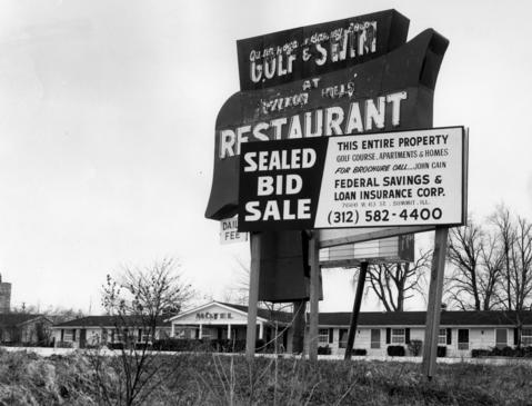 Feb. 20, 1967: A sign alerts potential bidders to the sale of the Vernon Hills Country Club.