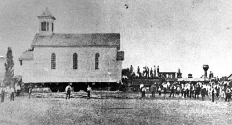 1880: Once a Protestant church, St. Mary's Catholic Church gets a railroad ride from Arlington Heights to Des Plaines.