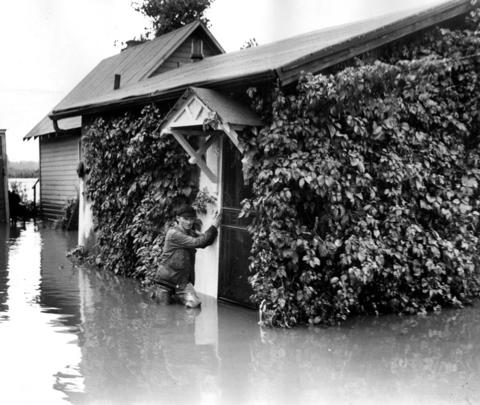 Sept. 14, 1936: Des Plaines is no stranger to floods, as evidenced by this photo of Fred Weigand standing on the doorstep of a neighbor's home after heavy rainfall.