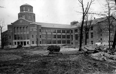 March 30, 1930: Construction of the new Maine Township High School is nearly complete.