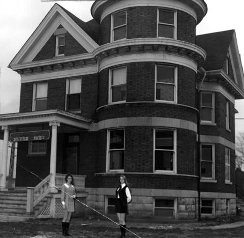 Aug. 30, 1969: Stephanie Mueller (left) and Marcia Moulton stand in front of the newly renovated building that will serve as a home for the Des Plaines Historical Society, which operated for two years without a building.