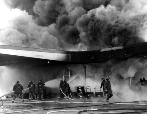 Feb. 7, 1972: A fire engulfs the Union 66 gas station after a motorist pulled away from the pump while the hose was still in the tank.