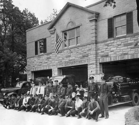 June 22, 1947: Glenview's fire brigade poses in front of their new $33,000 fire station, complete with three trucks and sleeping quarters.