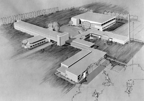March 8, 1953: An original rendering of Glenview-Northbrook High School before it was set to open in September, 1953.