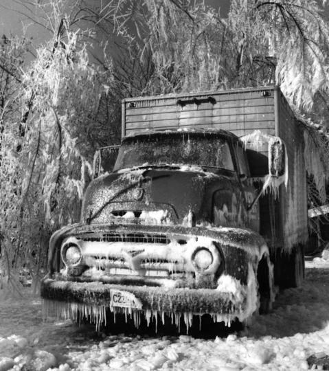 Jan. 18, 1967: A truck parked at 2550 Golf Rd. and surrounding trees become ice sculptures after water is sprayed from an overhead tank.