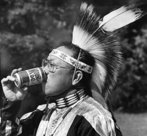 Oct. 2, 1983: White Bear Society Member Joe Kazurmura pauses for refreshment during his group's storytelling at Glenview's Grove Fest.