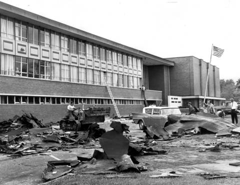 May 27, 1965: Scene at Old Orchard Junior High School, 9300 Kenton Ave., as clean-up operations began in the aftermath of a tornado.