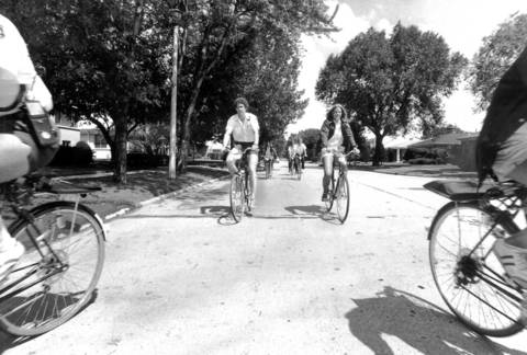 Aug. 4, 1977: Skokie's Bicycle Safety Patrol cruises one of the city's streets. The job ended in early September.