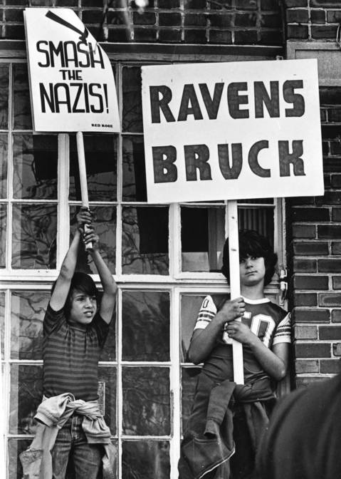 April 30, 1977: Children in Skokie help protest a planned march by the National Socialist Party.