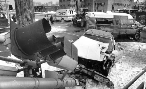 Feb. 7, 1985: Nine people, mostly elderly or handicapped, were injured when a van of the Maine-Niles Association for Special Recreation and a car collided in Skokie. Police said the driver of the van, which was traveling westbound on Church Street, applied his brakes too late for a red light at Skokie Boulevard and skidded into the intersection. After impact, the car, carrying three people, rammed into a light pole. The van's driver was cited for running a red light, police said.