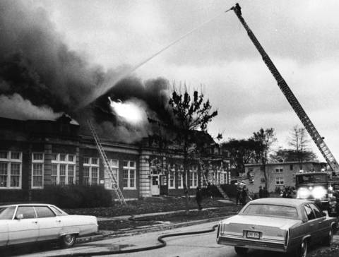 Nov. 9, 1982: Firefighters battle a blaze at Brisk Yeshivas, a rabbinical school on the 9000 block of Forest View Drive in Skokie. No one was injured.