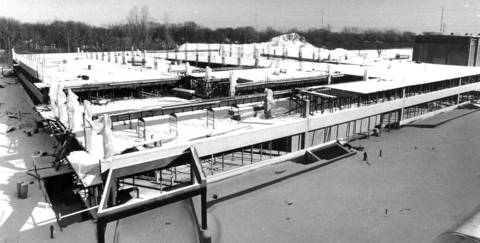 Jan. 29, 1982: The court house parking lot is under construction to correct stress problems due to the lack of ties on the steel inside the beams.