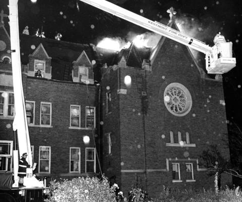 Oct. 29, 1972: Firemen spray water on a fire on the roof of the abandoned Marian Hills Seminary, 6047 Clarendon Hills Rd. in Clarendon Hills. Fire Chief James Van Ripper said blaze was difficult to fight because of the many false ceilings in the chapel.