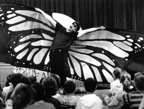 "May 1, 1991: Jeffery Foster of the City Lit Theater Company portrays a butterfly in a program at Prospect Elementary School in Clarendon Hills. Pupils are taught morals using costumes and parables, incluing ""Aesop's Fables."""