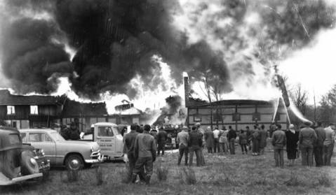 Nov. 22, 1949: A fire rips through the clubhouse at the Oak Brook Polo Club. The fire started in the club publicity manager's second-floor apartment and destroyed the structure.