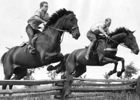 June 15, 1950: Johnny Choquette, riding Royal Coachman, and Henry Helgeson, riding Some Gold, clear timber hurdles while practicing for an upcoming competition in Oak Brook.