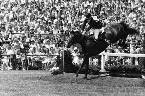 Aug. 11, 1969: A rider competes at the Grand Prix competition at the Oak Brook Polo Club.