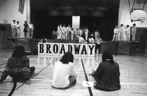 "April 3, 1985: Students rehearse ""Broadway"" at Butler Junior High School in Oak Brook."