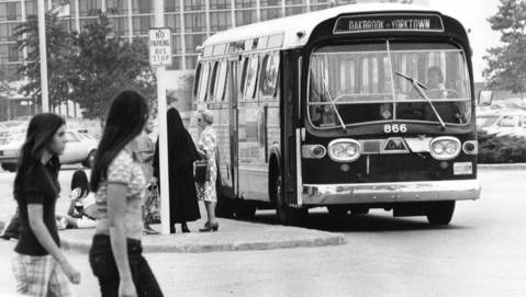 July 20, 1973: A bus picks up passengers at Oakbrook Center.