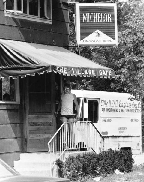 Aug. 29, 1985: A customer heads for the Village Gate saloon. Along with the York Tavern, the bar's license was up for renewal after a grandfather clause expired.