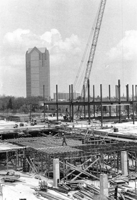 April 26, 1990: Crews work on a new building in Oak Brook Plaza on 22nd Street.