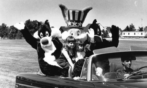 June 12, 1988: Sylvester, Bugs and Daffy hitch a ride during the Oak Brook Children's Parade.