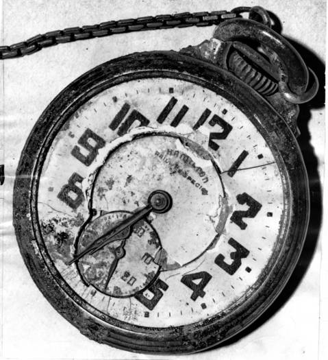 A battered watch carried by one of the trolley crash victims showed the time of the disaster. It stopped at 6:33 on May 26, 1950.