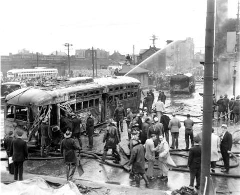 A scene from the May 25, 1950, Green Hornet streetcar crash that killed 34 people.