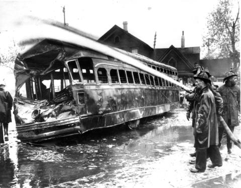 This shell was what remained of the Green Hornet streetcar after searing flames from gasoline spilled from a tanker truck destroyed it and killed its human cargo.